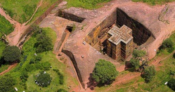Ethiopia Ancient Bed Rock Church Of St George Located In