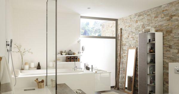 plaquette de parement pierre naturelle beige elegance dans la salle de bain. Black Bedroom Furniture Sets. Home Design Ideas