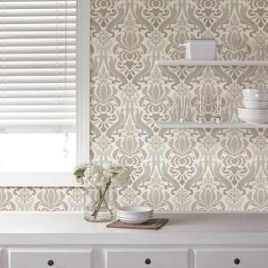 Nuwallpaper Grey Nouveau Damask Peel And Stick Wallpaper Nu1827 In