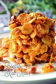 Cornflakes Pedas Bermadu Dengan Kacang Bilis Panggang Bicara Kak Noor Food Snacks Recipes
