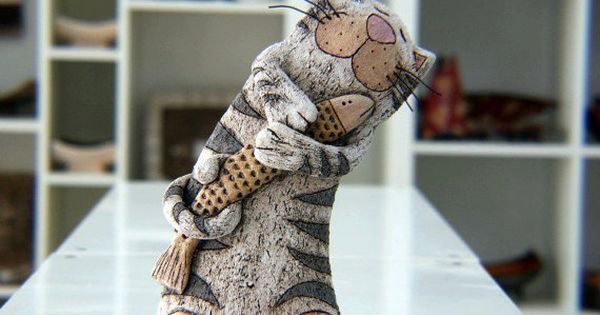 Pottery And Ceramic, Cat Sculpture, Pottery Cat, Ceramic