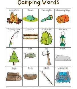 Writing Center Tools Camping Words Camping Theme Preschool Camping Theme Classroom Camping Theme