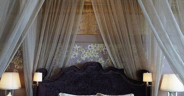 Canopied Bed with Chandelier Sheer curtains