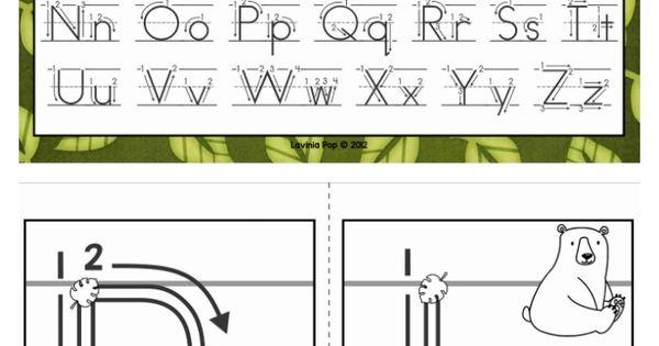 alphabet handwriting cards with directional arrows wild animals alphabet cards and kindergarten. Black Bedroom Furniture Sets. Home Design Ideas