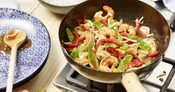 bunter garnelen gem se wok rezept frische champignons wok und garnelen. Black Bedroom Furniture Sets. Home Design Ideas