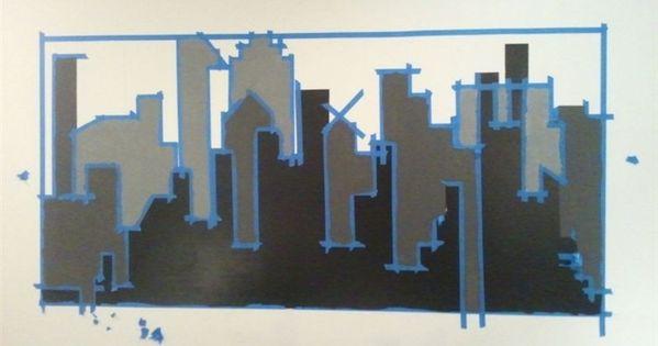 Gotham city wall mural with batman nightlight diy kid for Batman cityscape wall mural