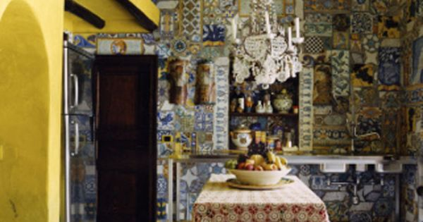 Kitchen in the house of Dolce & Gabbana at Stromboli, Sicily.