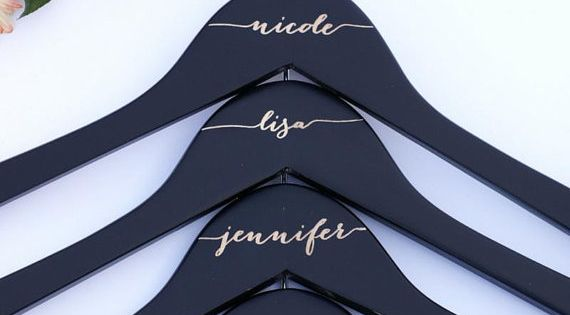 Engraved matte black bridal party wood hangers for dresses by Black Label