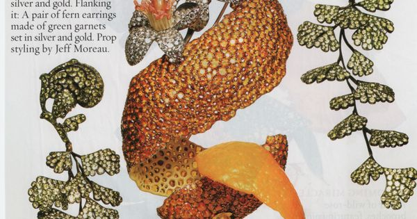Orange peel brooch and fern earrings. Town and Country ...