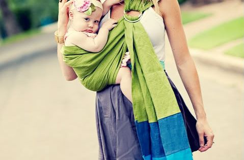DIY baby sling - two rings, long strip of fabric...this would be