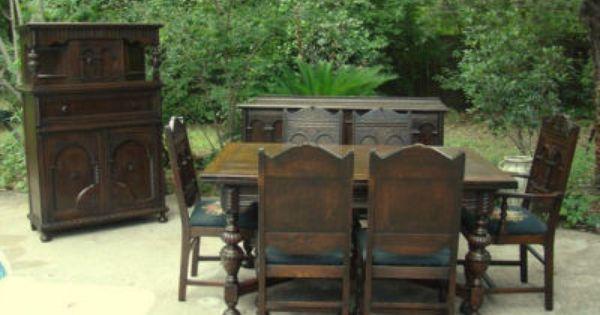 Jacobean Carved Dining 1900 Vintage Carved Oak Jacobean