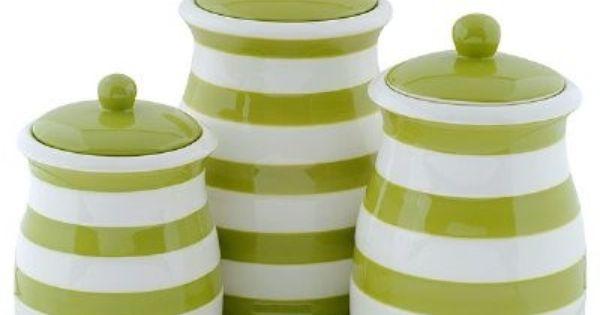 Green White Stripe Ceramic Kitchen Canister Set Apple Green Kitchen Ceramic Kitchen Canisters Ceramic Kitchen Canister Sets