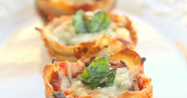 lasagna cups (good for parties) I don't know about your family, but