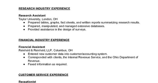 sample combination resume