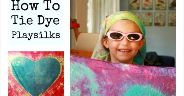 Step-by-step instructions on how to tie dye scarves and playsilks, including how