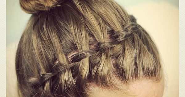5 Minute Hairstyles Braids: Waterfall Headband Into A Bun. Tutorial At Http://www