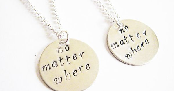 sisters necklace long distance, handstamped necklace personalized jewelry, gift for best friends