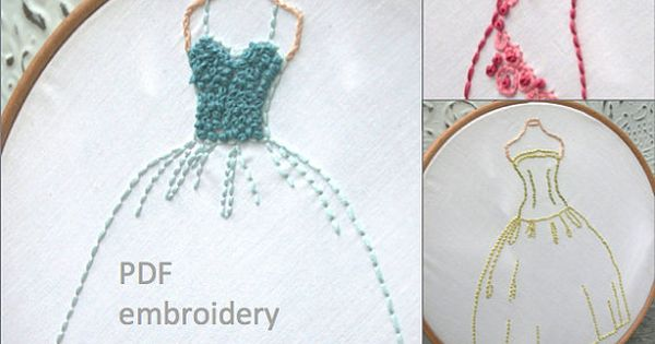 PDF Hand Embroidery Pattern  Vintage Ball Gowns Set