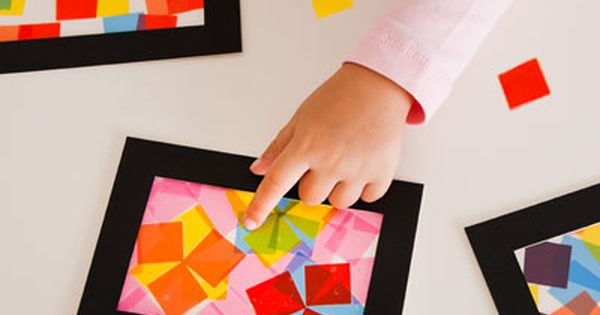 Tissue paper shapes/contact paper stained glass art
