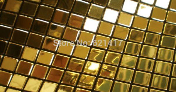Metal Dore Mosaique Miroir En Aluminium Plaque En Plastique Feuille D Or Carreaux De Mosaique Pour Dosser Dosseret Cuisine Idees De Dosseret Carrelage Mosaique