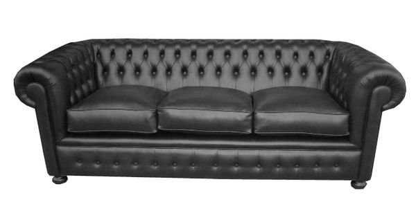 Sofa Chester Tapizado En Color Negro Totalmente
