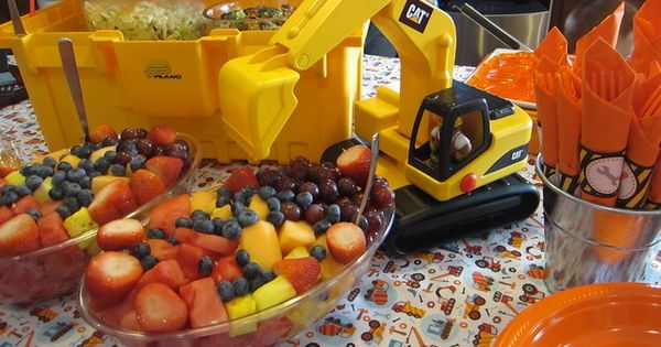 Fruit salad at truck party. I like the orange color and fruit