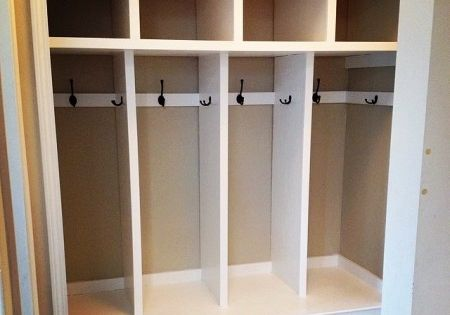 Mudroom Storage Do It Yourself : Closet to mudroom lockers do it yourself home projects
