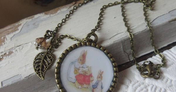jewelry necklace Easter bunny swarovski crystal smokey topaz kids and toddlers babies children girls birthday Beatrix Potter Nursery Rhymes by Rosebudbabydesigns on Etsy