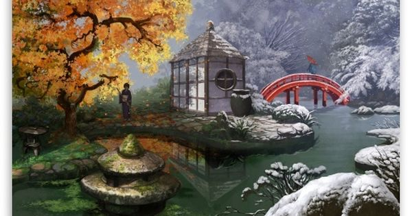 Download Japanese Garden Painting Hd Wallpaper Japanese Garden