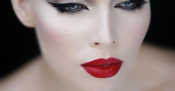 Red Lipstick Black Liquid Eyeliner Perfect Taupe