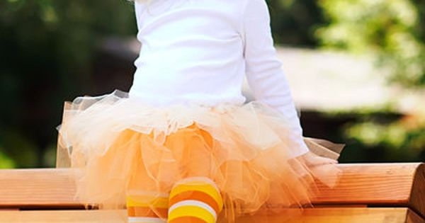 Simple candy corn kids costume idea. MarthaStewartLiving