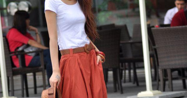 Cool outfit. || Dark Orange Long Summer Skirt Linen Bud Long Maxi