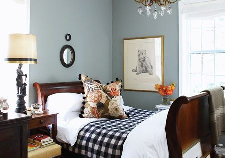 love the paint color & buffalo check - guest bedroom