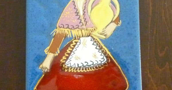 Vintage Decorative Pottery Tile Wall Hanging Girl