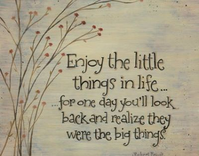 Enjoy the little things in life...for one day you'll look back and