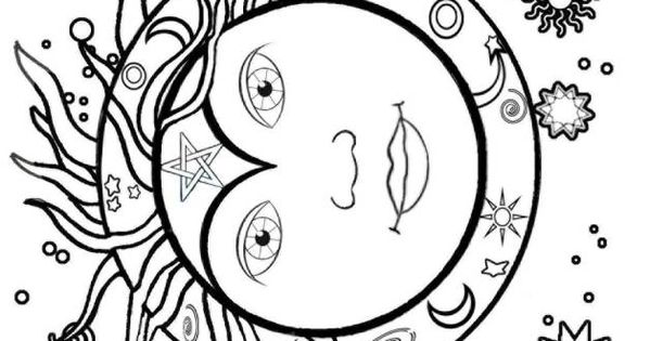 Midsummer Sun Coloring Page 1s Suns Moons Stars