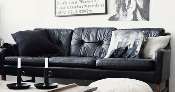Back to basics with a black white living room.