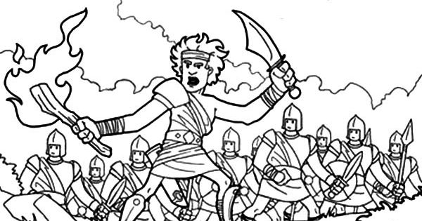 Gideon The Bible Heroes Coloring Page - NetArt