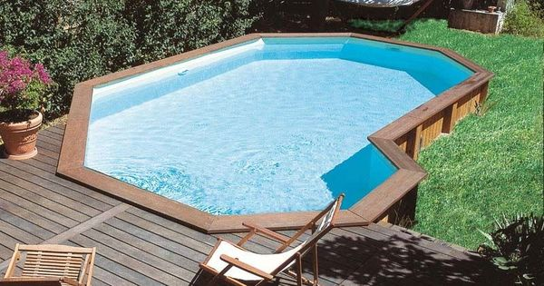 Semi Inground Wood Pool Google Search Gardening And