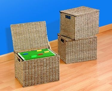 Seagrass Wire File Box With Lid Organizes Your Documents Files Loose Papers And More Flip Top Lid Conceals Private File Box Organization File Box File Boxes