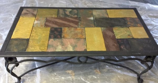 Painting Stone Tiles On A Coffee Table Tiled Coffee Table