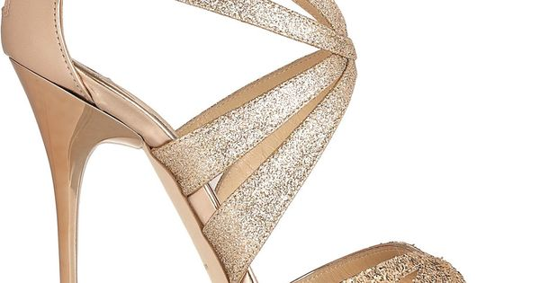 JIMMY CHOO Garland glitter-finish leather sandals $950