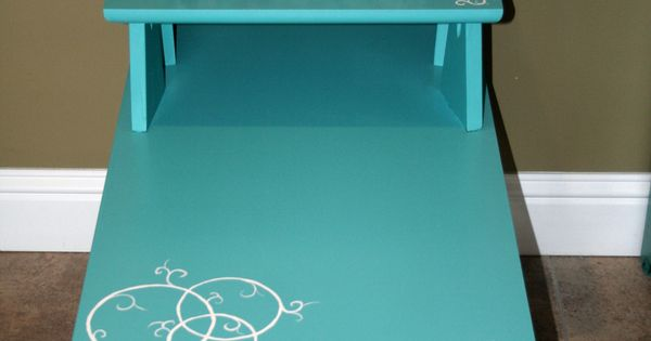 Cute Mod Style End Table Painted Turquoise With Small