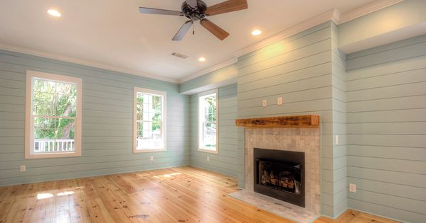 living room with heart pine flooring, Not Shiplap/ Nickel ...