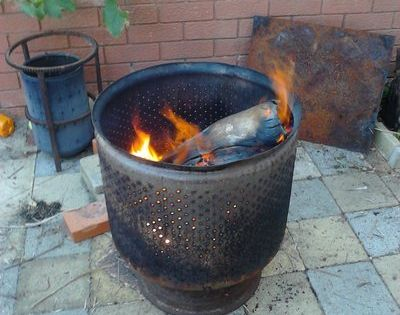 Repurpose a washing machine drum into a fire pit i think for Deep pit bbq construction