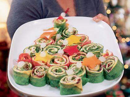 Kerstboom van tortillarolletjes leuk voor een kerstbuffet bijzondere kersthapjes pinterest - Deco voorgerecht ...