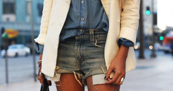 Truffol.com | White blazer + double denim crisp clean city summer