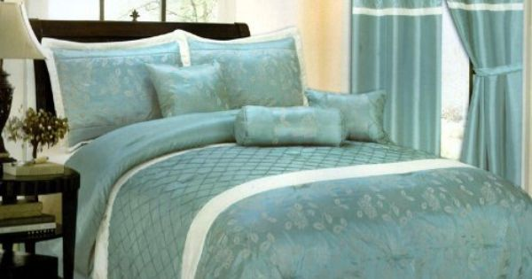 7 Piece Bed In A Bag Cornelia Aqua Blue White Faux Silk Comforter Set King Size Bedding By