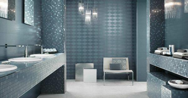 Rev tement mural salle de bain en carrelage losanges et for Carrelage mural salle de bain bleu