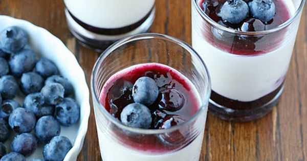 "Yogurt Panna Cotta with Blueberry Sauce Panna Cotta (Italian for ""cooked cream"")"